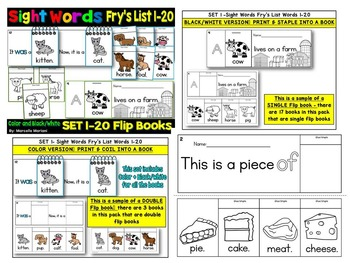 Sight Word FLIP BOOKS- 60 Sight Word Readers- Fry's First 60 Sight Words
