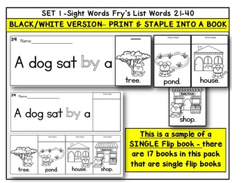 Sight Word BOOKS- Fry's First 100 Sight Words (20 FLIP BOOK Readers-words 21-40)