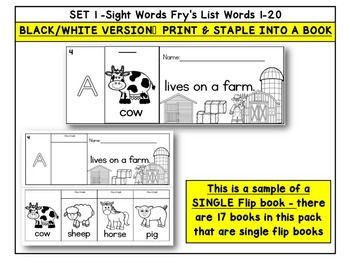 Sight Word BOOKS- Fry's First 100 Sight Words (20 FLIP BOOK Readers-words 1-20)