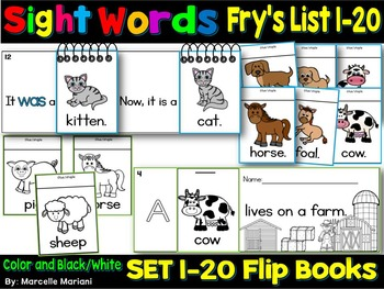 Sight Word BOOKS- Fry's First 100 Sight Words (20 FLIP BOO