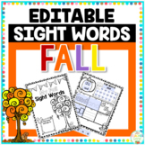 Fall Sight Word Editable Printable