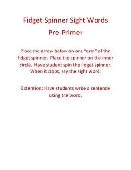 Sight Word Fidget Spinner Game Pre-Primer