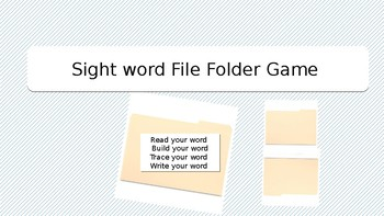 Sight Word File Folder Game