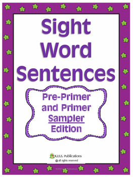Sight Word Fill-In Sentences Pre Primer/ Primer Sample