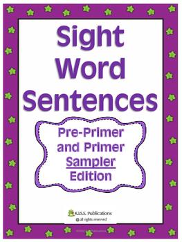 Sight Word Fill-In Sentences Pre Primer/ Primer Sample