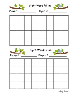 Sight Word Fill-in - Fry's First 300 Words