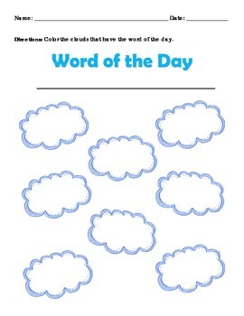 Sight Word Find Cloud Format