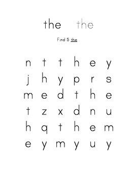 Kindergarten Sight Word Find - 28 Word Collection