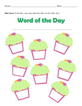Sight Word Find Cupcake Format