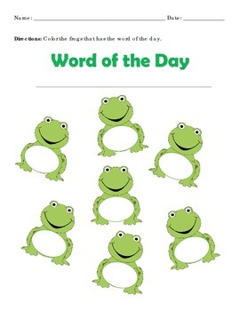 Sight Word Find Frog Format