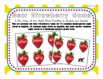 Sight Word Find It Game in English and Spanish
