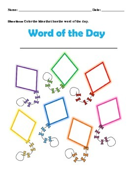 Sight Word Find Kite Format