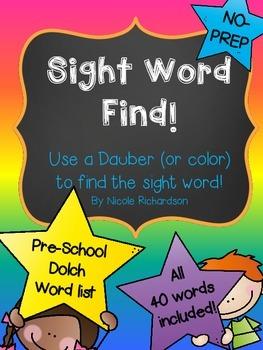 Sight Word Find! NO-PREP!