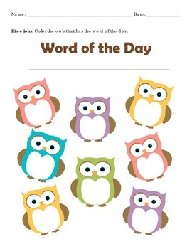 Sight Word Find Owl Format