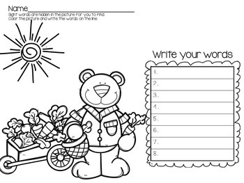 Spring Sight Word Activities