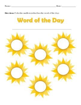 Sight Word Find Sun Flower Format