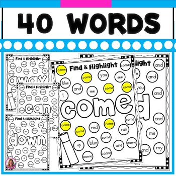 Sight Word Find and Highlight! (40 Dolch Pre-Primer Sight Words Included)