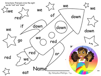 Sight Word Find: red, down