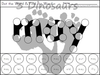 Sight Word First Grade Dot the Word & Find the Word