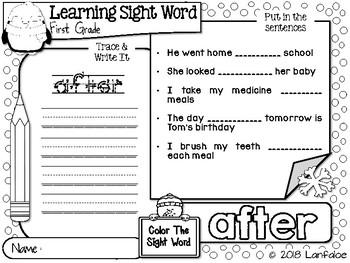 Sight Word First Grade Winter Activity