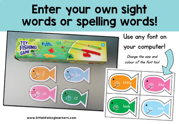 Sight Word Fish - Editable Template for Fishing Game