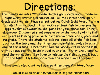 Sight Word Fishing: Dolch 2nd Grade