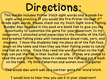 Sight Word Fishing: Dolch Primer