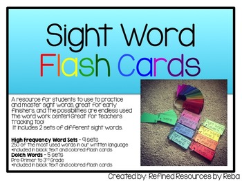 Sight Word Flash Cards 2 Sets: Dolch Sight Words Set & 250 Most Common Words Set