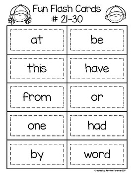Student Sight Word Flash Cards: 1st 200 Fry Words