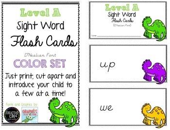 Sight Word Flash Cards {Dinosaur Theme}