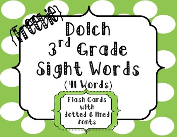 Sight Word Flash Cards {Dolch 3rd Grade}
