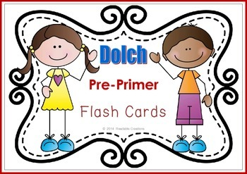Sight Word Flash Cards - Dolch Pre-Primer {Freebie}