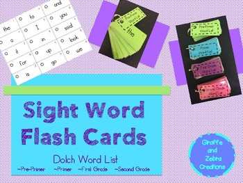 Sight Word Flash Cards (Dolch Word List)