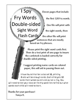 Sight Word Flash Cards - Fry 120