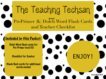 Sight Word Flash Cards- PrePrimer Dolch Words