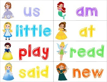 Sight Word Flash Cards - Princess Edition