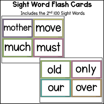 Sight Word Flash Cards - The Second 100