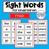 Sight Word Flash Cards for Kindergarten