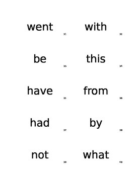 Sight Word Flash Cards for RTI