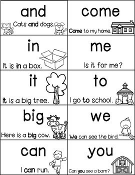 Sight Word Flash Cards with Sentences and Picture Clues