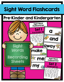 Sight Word Flashcard Sets & Recording Sheets: Pre-Kinder through Third Grade