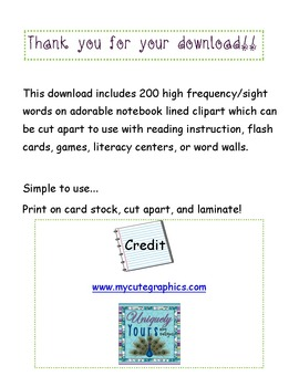 Sight Word Flashcards - 200 Words!