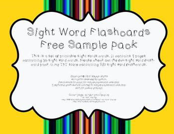 Sight Word Flashcards Free Sample Pack