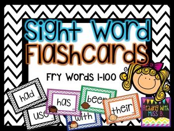 Sight Word Flashcards - Fry List Words 1-100