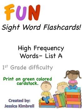 Sight Word Flashcards (List A)