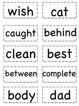 Sight Word Flashcards (List C)