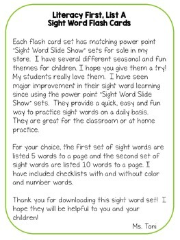 Sight Word Flashcards, Literacy First List A