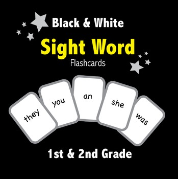Sight Word Flashcards / Playing Cards Black and White