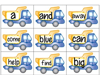 Sight Word Flashcards- Pre Primer Words (Dump Truck themed)