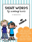 Sight Word Flashcards by Reading Level
